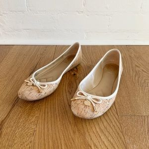 Vince Camuto cork slip on ballet flats with bow